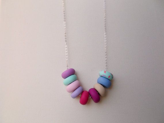 Handcrafted polymer clay necklace in Funfetti Cake, by craft & folk  https://www.etsy.com/ie/listing/219486165/funfetti-cake-handmade-polymer-clay?ref=shop_home_active_1