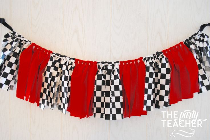 Race Car Fabric Tie Garland   $29 #carsparty