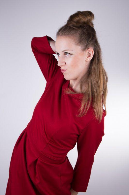 wear a red elegant dress...