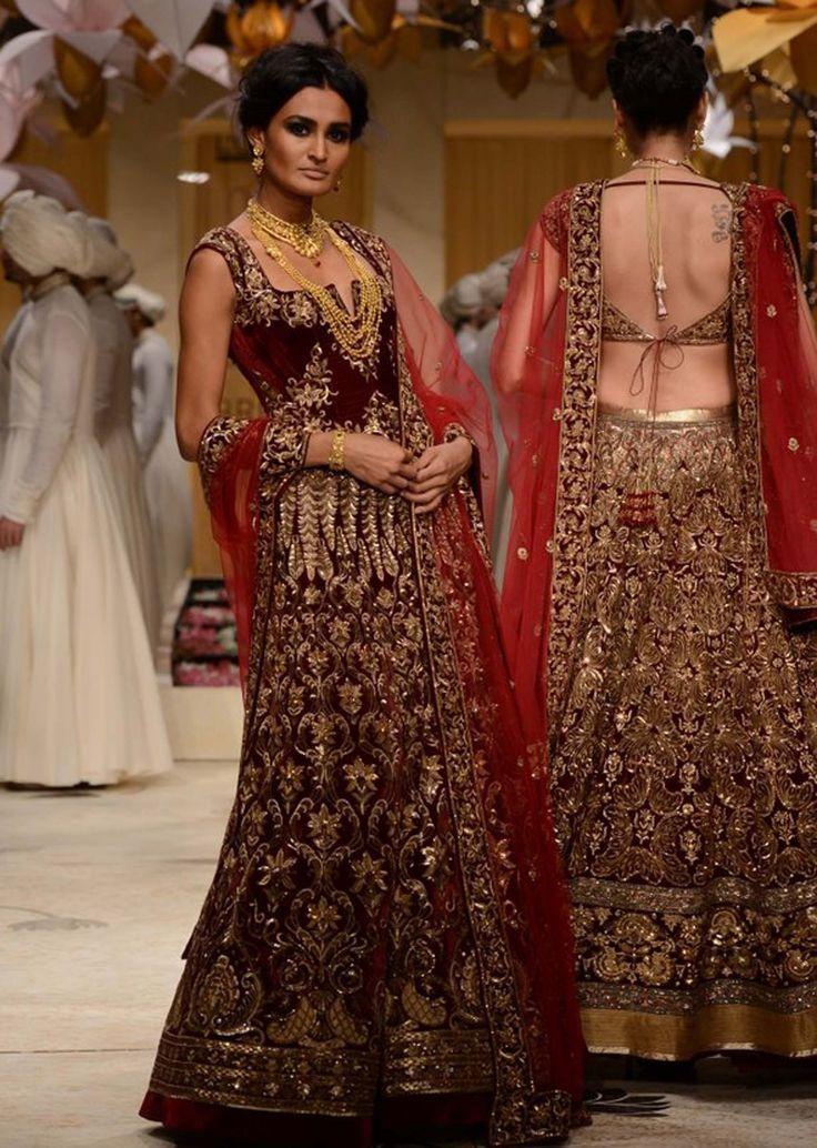 Model walks the ramp in maroon embellished lehenga for Rohit Bal at Indian Bridal Week 2013 - Kalkifashion.com