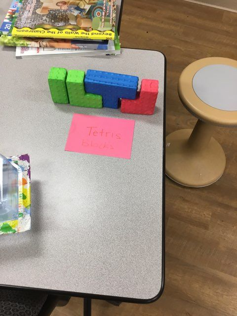 Tetris Blocks Have the children build and destroy their designs. This is great for any age. Children can build and destroy or learn how to actually play tetris. Questions to ask: What shape is this? How can you use it?