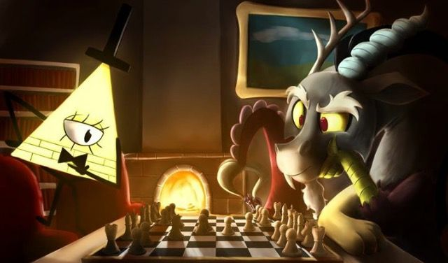 Discord and Bill playing chess.