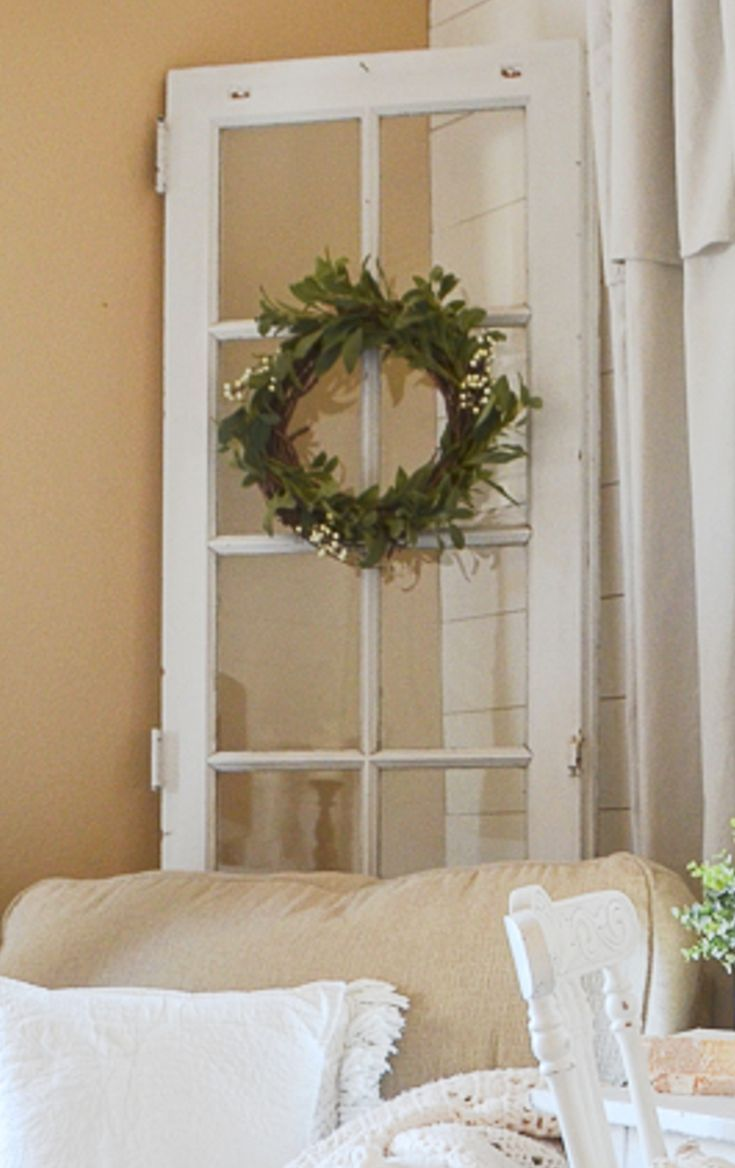 Window frame decor with wreath  old window frames diy ideas and window frame crafts  rustic