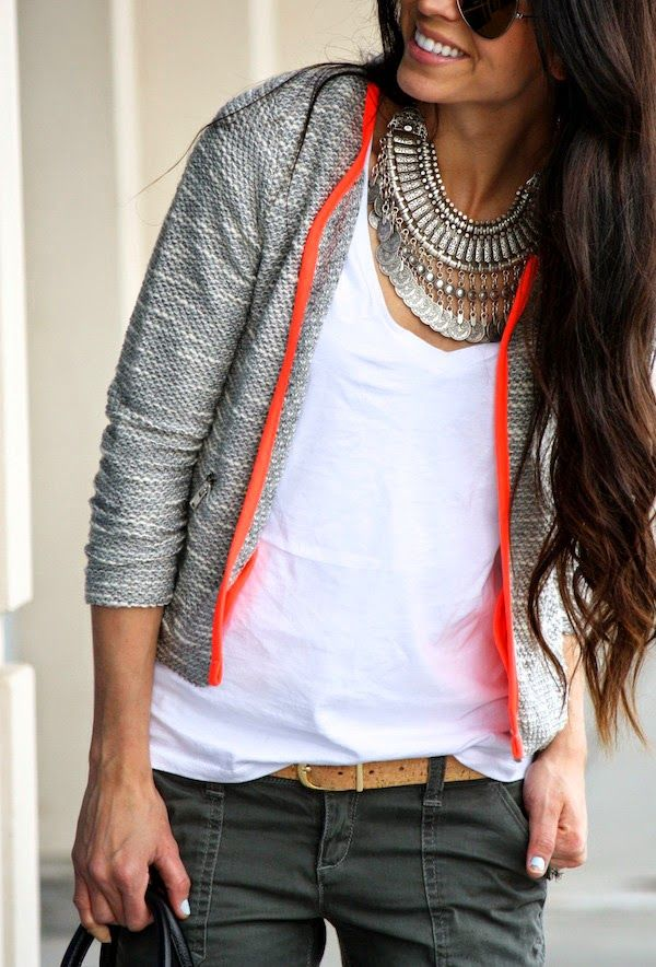 neon trim and a statement necklace