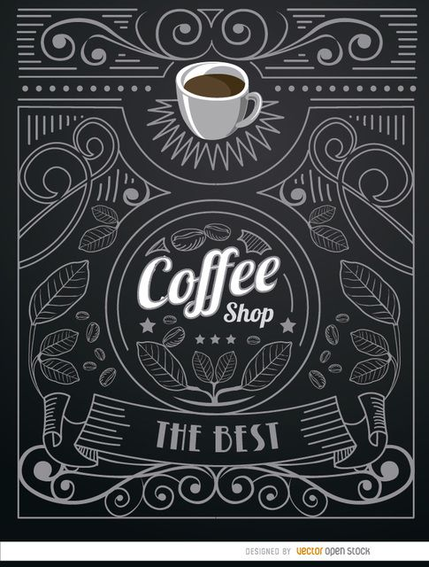 Very cool logo for a coffee shop in doodle style with a cup of coffee on top and a lot of ornaments around like leaves, swirls, ribbons, stars, etc. Nobody will resist having a coffee in a shop with this cool logo. High quality JPG included. Under Commons 4.0. Attribution License.
