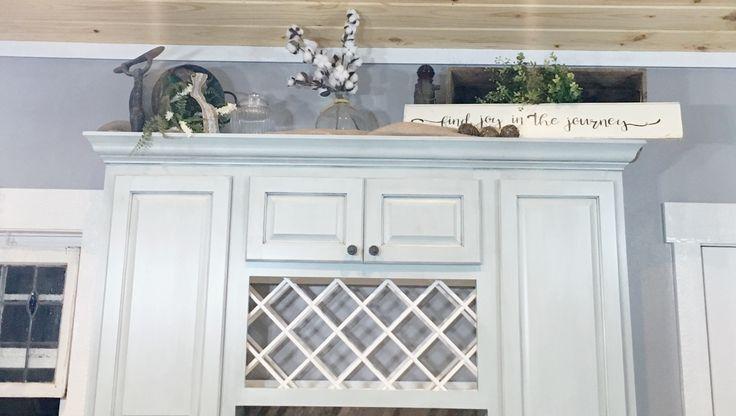 Farmhouse Kitchen, Farmhouse Cabinet Decor, French Country Kitchen, Wine rack cabinet, Blue Glazed Kitchen Cabinets