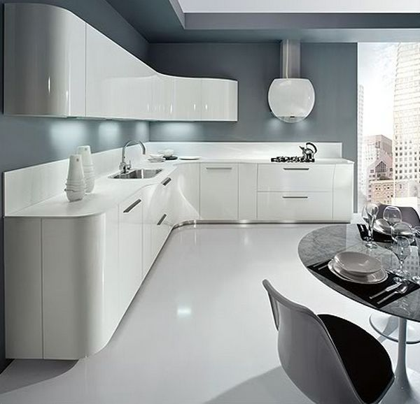 Stunning grey and white gloss kitchen