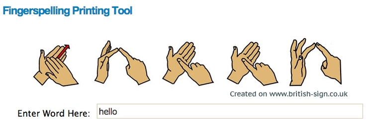 British Sign Language: An introduction to BSL, with video demonstrations of signs for colours, home, school and weather, and a super set of free fingerspelling resources. These include a fingerspelling machine which will show a video, or produce a print out of any word you type. There is also a downloadable fingerspelling game to help you learn the 2 handed fingerspelling alphabet, a tool to send a fingerspelling E-Card, and some fingerspelling charts, magnet sheets and clipart to download.
