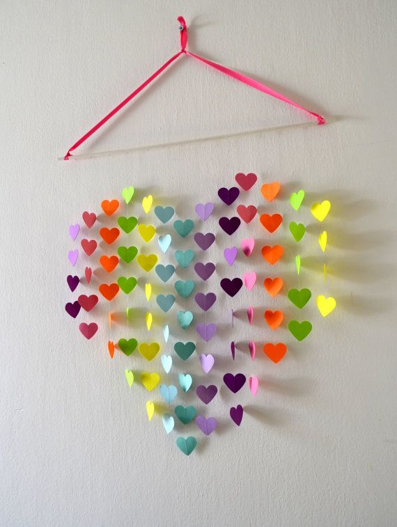 Tropical Rainbow Heart Mobile / Wall Hanging  Modern by RonandNoy