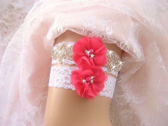 Hot Pink Bridal Garter Wedding Garter Set Lace by nanarosedesigns