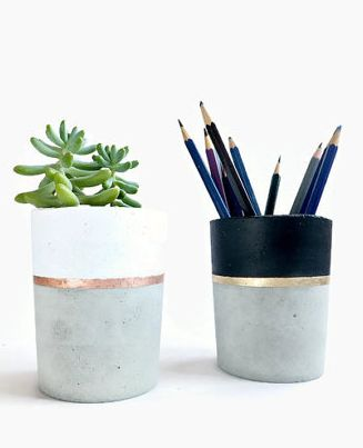 grey ceramic planter and pencil holder