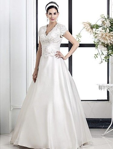 A-line Princess V-neck Lace And Organza wedding dress Easebuy! Free Measurement!