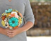 Bridal bouquet made from brooches.