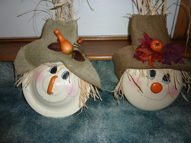 "Scarecrow pot lids.  More ideas for thoses, ""This lid doesn't fit anything""."