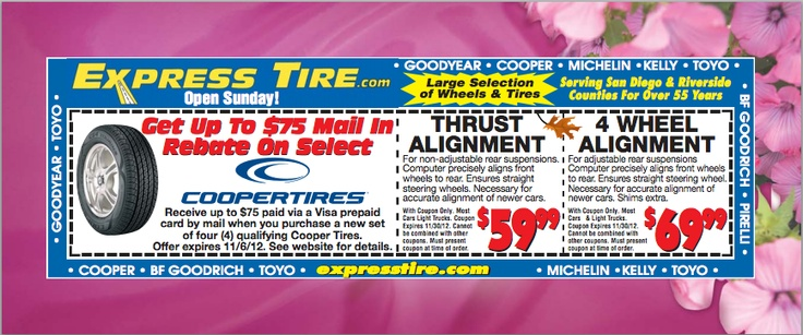 Ntb coupons for tire alignment