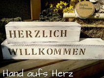 """Shabby Chic """"Herzlich Willkommen"""", Holz Deko"""
