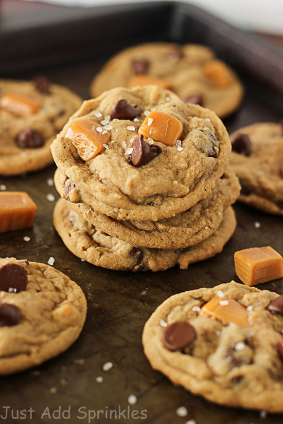 Soft & chewy caramel flavored cookies loaded with chocolate chips and caramel pieces and sprinkled with sea salt.