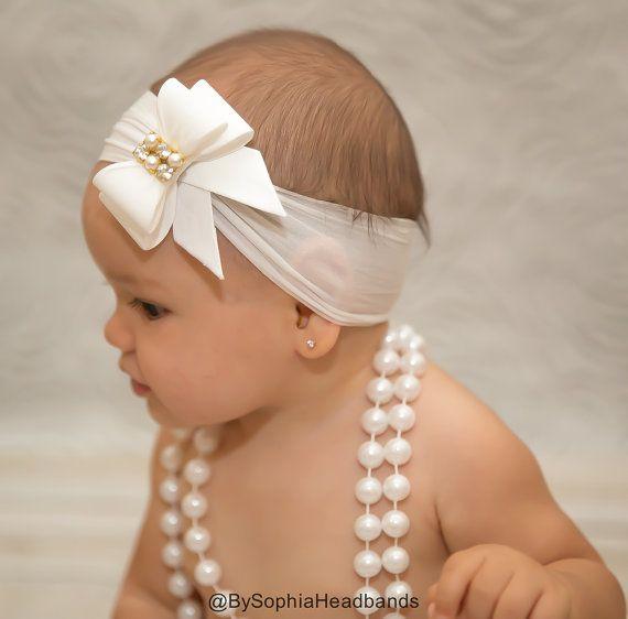 White Bow Headband, Baby Bow Headband, Nylon Headband, Baptism Headband, White Baby Headband, Newborn Headband, Christening Headband