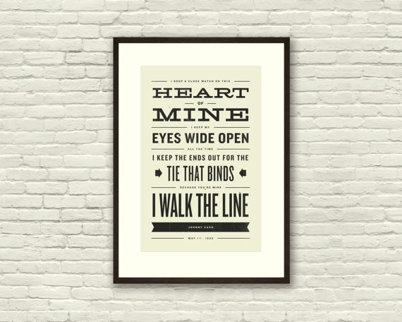 JOHNNY CASH Walk The Line Lyric Poster