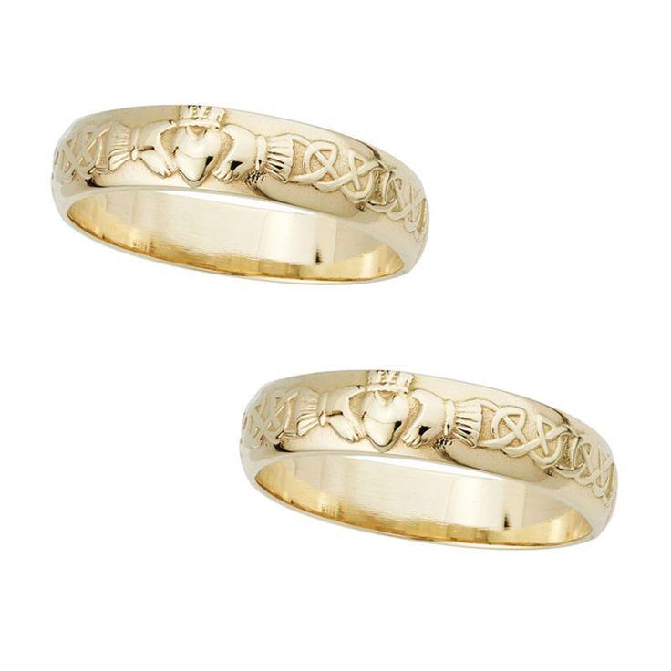 Claddagh Eheringe, 14 Karat Gold