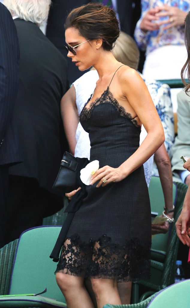Fashion mogul Victoria Beckham hits Wimbledon with a friend in a lace slip dress. http://www.eonline.com/photos/6/the-big-picture-today-s-hot-pics/297733