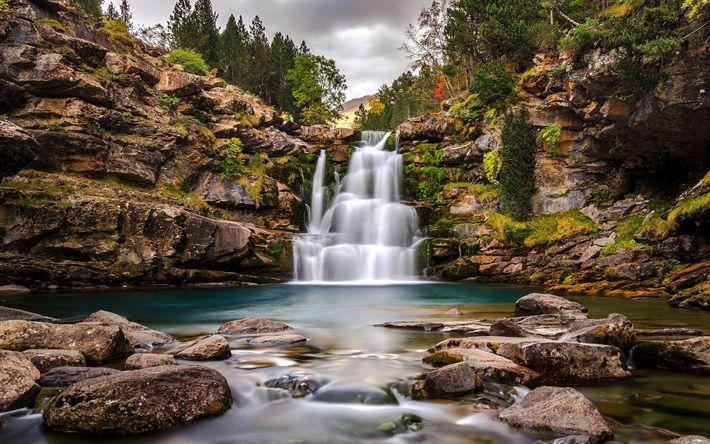 Download wallpapers Soaso waterfall, rocks, beautiful waterfall, forest, autumn, lake, Aragon, Ordesa y Monte Perdido, National Park, USA