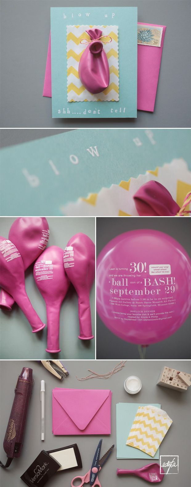 Such a lovely idea: have the invitation printed on a balloon so that the recipient has to blow the balloon up to read it. I might do this for a bachelorette or other party rather than a wedding!
