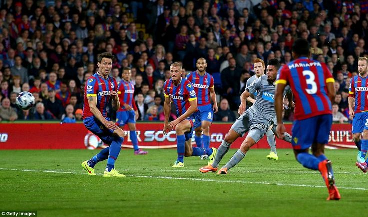 Crystal Palace 2 Newcastle 3 aet in Sept 2014 at Selhurst Park. A goal for Emmanuel Rivière makes it 1-1 in the League Cup 3rd Round.