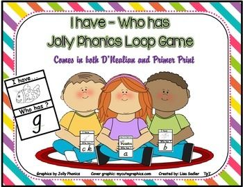 Jolly Phonics - I have - Who Has Loop Card Game - Comes in both D'Nealian and Primer Print