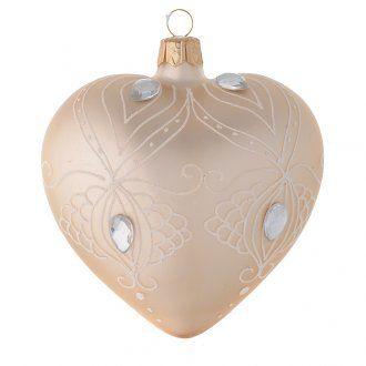 Decoro Albero cuore vetro oro/bianco 100 mm | vendita online su HOLYART