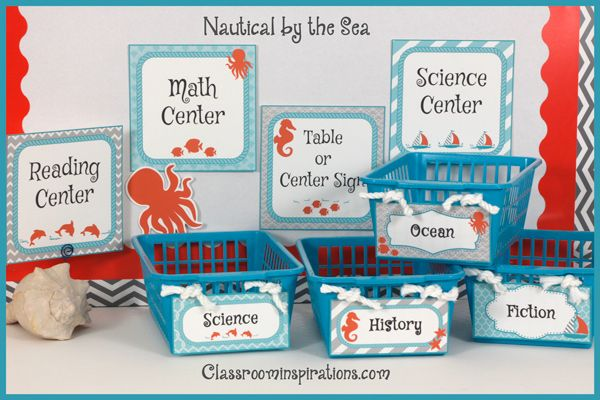 Nautical by the Sea Classroom Theme Set your classroom theme to smooth sailing with our trendy Nautical by the Sea room décor theme. Teal and gray with just the right amount of coral will transform your classroom into a soothing oasis.