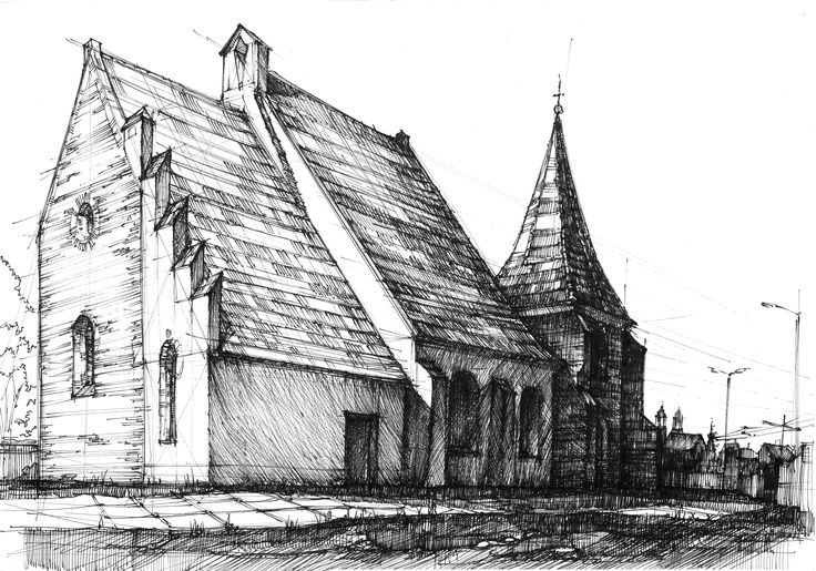 Old romanesque church in Poznan, Poland. Pain air drawing with DOMIN Poznan drawing school.