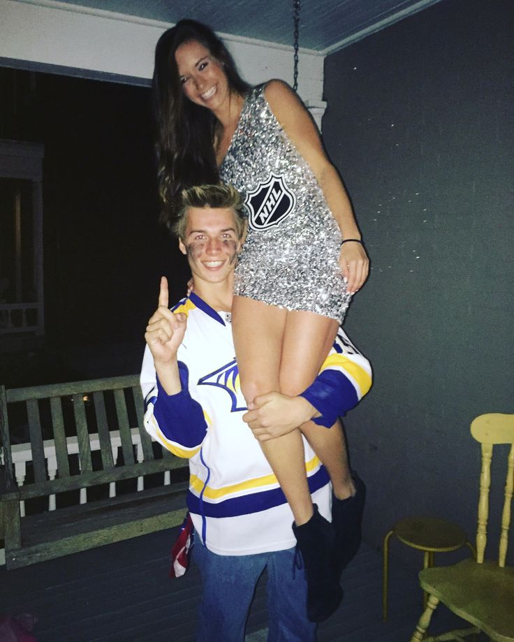 Halloween Couple Costumes. Hockey player and Stanley Cup