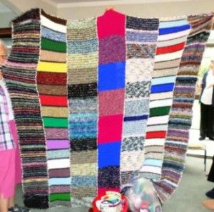 Knitted blankets for Orphans greays and reds