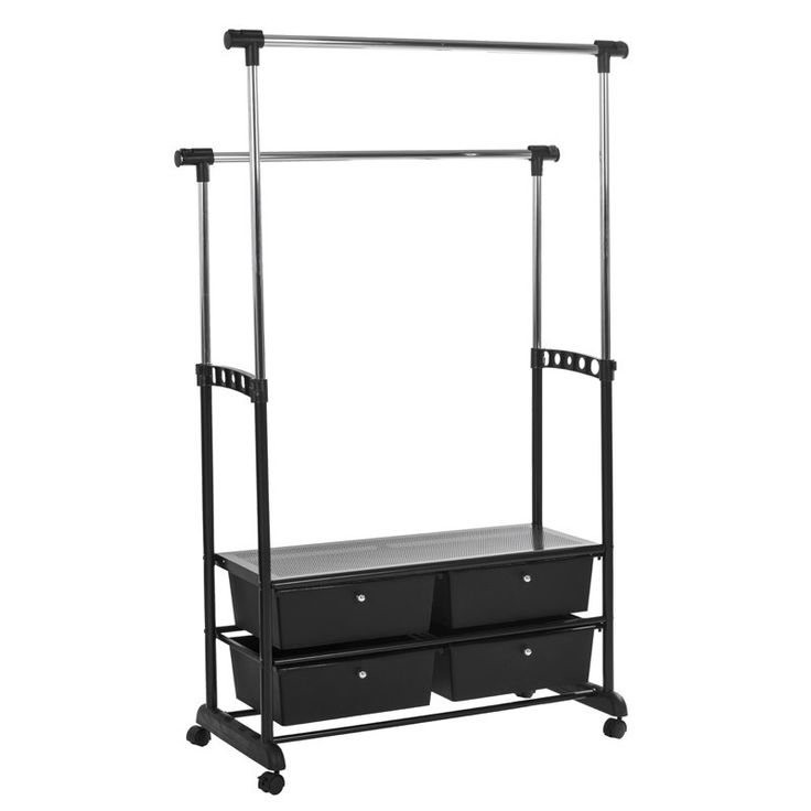 Garment Rack in black with drawers for extra storage
