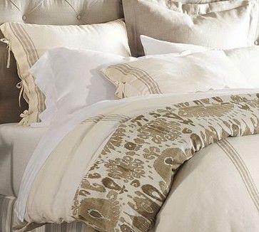 French Stripe Linen Duvet Cover, King/Cal. King, Sandalwood traditional duvet covers