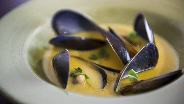 Spiced mussel soup ... By MasterChef finalist Rishi Desai. Photo: Rohan Thomson