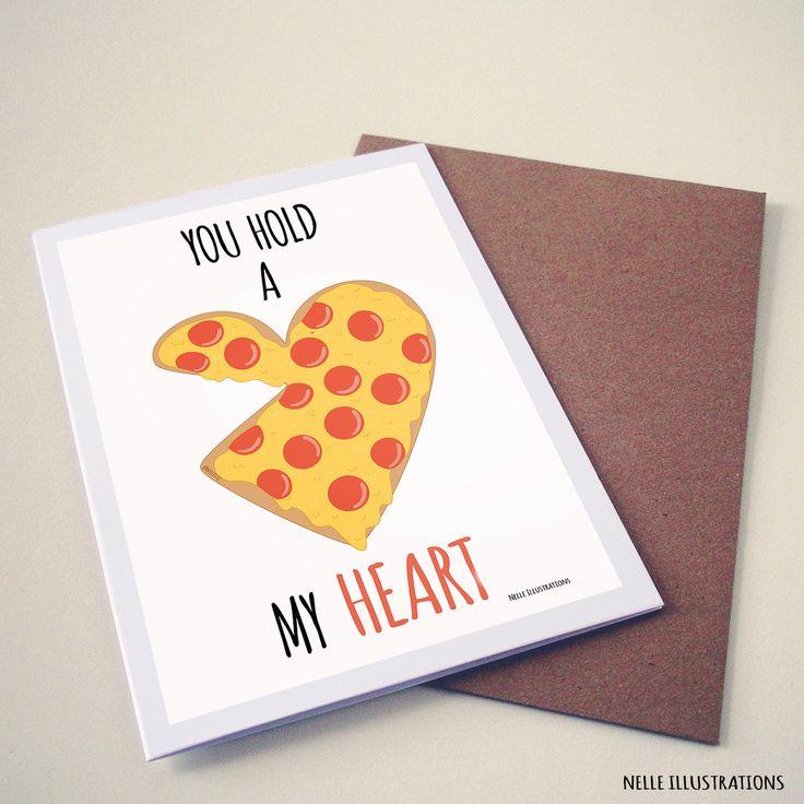 Pizza art /illustration. Funny Valentines card ideas