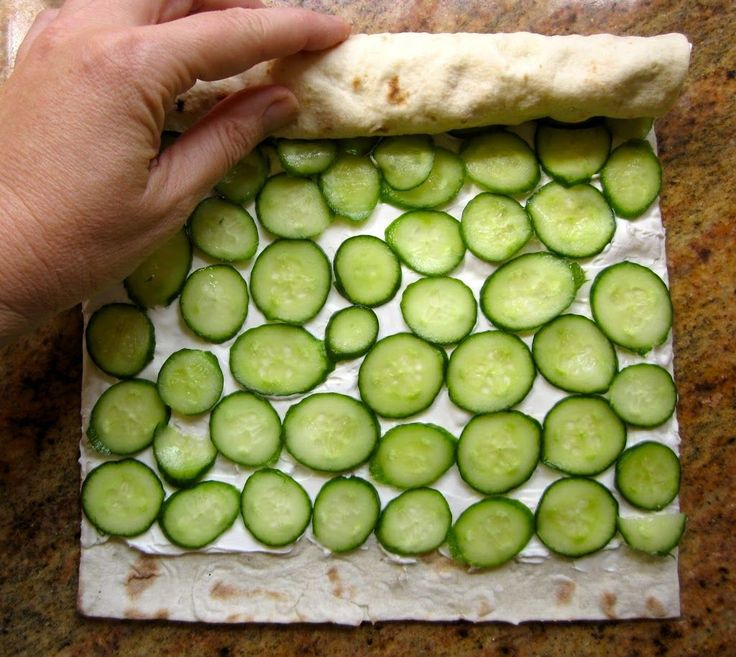 Cucumber and Cream Cheese Sandwich Rolls (with Lavash Bread)