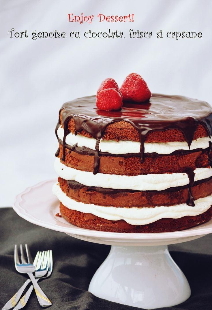 Tort genoise cu ciocolata, frisca si capsune