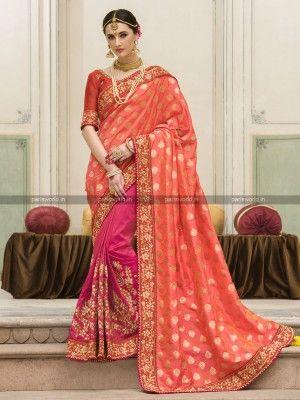 Pink N Orange Jacquard Designer Wedding Saree