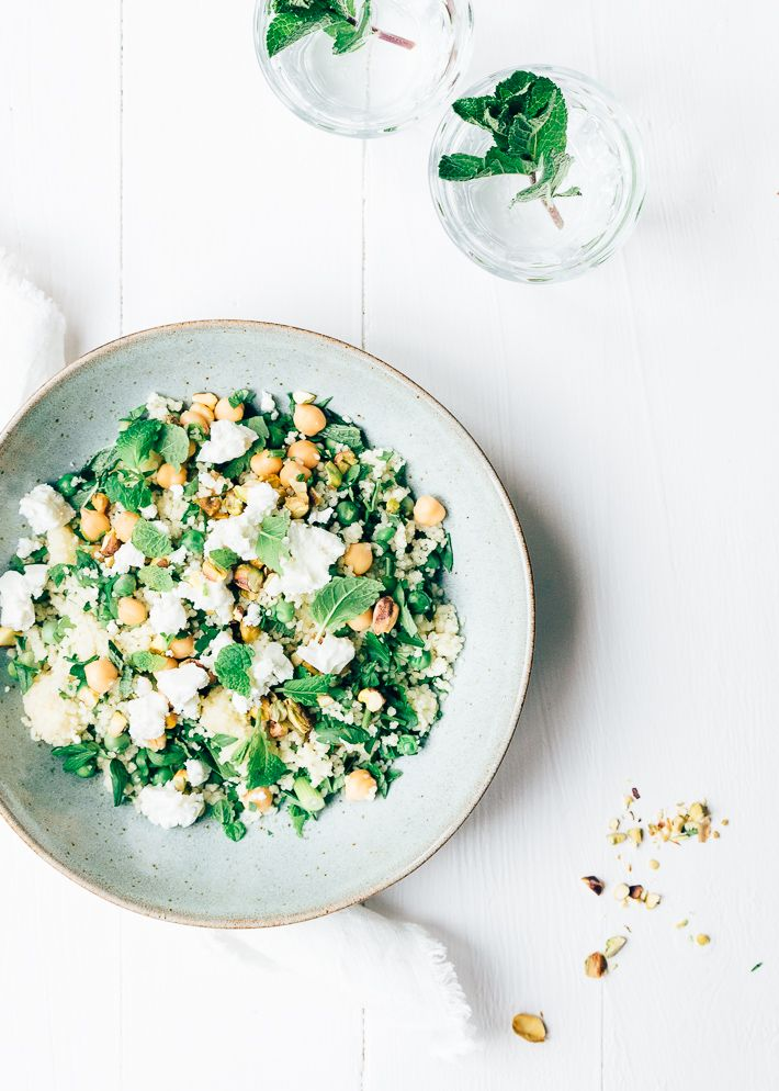 green couscous with feta