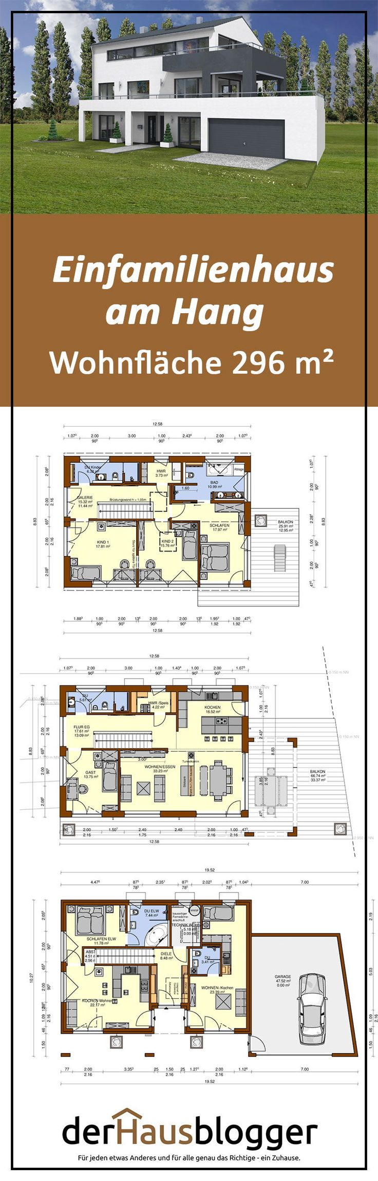 Das Grundstück dieses Hausentwurfes ist auf der kompletten Länge extrem  steil. Für die Bauherren war es aber trotzdem ein Traumgrundstück da es  …