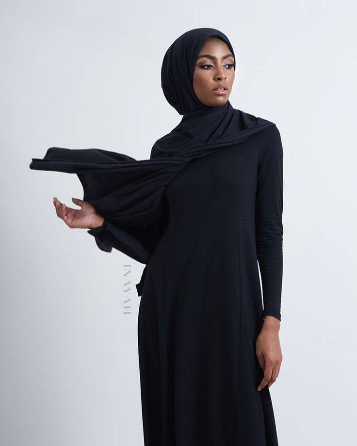 INAYAH   We source natural fabrics and blends to in order to create high quality clothing - Long Black Maxi #Dress + Navy Modal Blend #Hijab - www.inayah.co