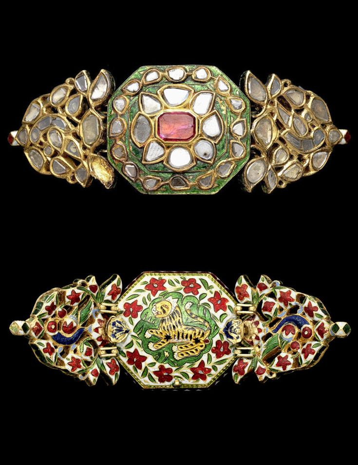 https://www.facebook.com/nikhaarfashions India | Bazuband / armband; gold, enamel, diamonds and ruby |