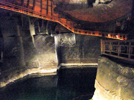 Krakow: salt lake in the salt mine. salt-lake. The water is at least ten times saltier than the Dead Sea.