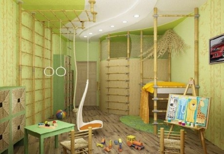 Fun bamboo kids bedroom with places to climb and swing.  7. Bedroom inspired by nature  #NaturalInspiration #NaturalBabyCo