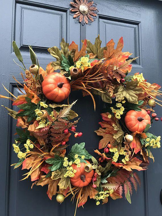 Fall Wreaths Fall Pumpkin Wreath Fall Door Wreaths Front Door