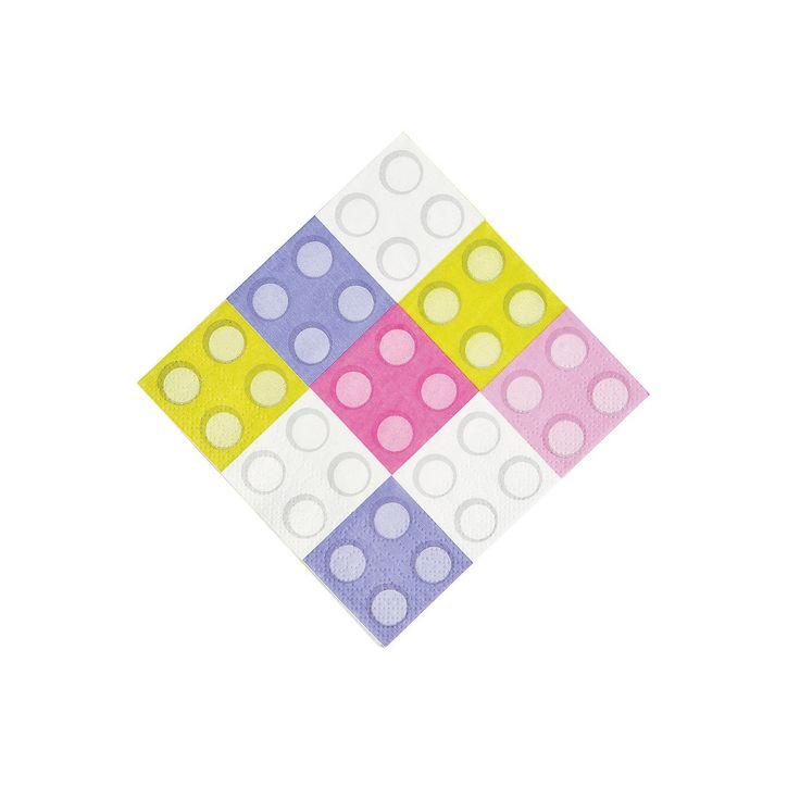 Pastel Color Brick Party Beverage Napkins - OrientalTrading.com