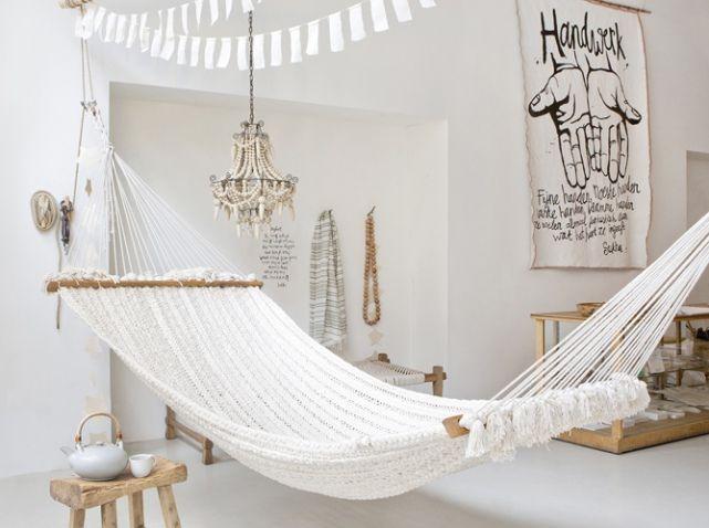 Salon hamac blanc